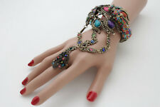 Fun Women Bracelet Gold Metal Hand Chain Peacock Fashion Jewelry Bird Slave Ring