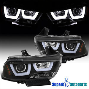 For 2011-2014 Dodge Charger Black LED Dual Halo Projector Headlights