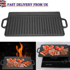Cast Iron Non-Stick Frying Pan Grill BBQ Skillet Reversible ridged Griddle Plate