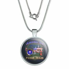 "Farm Tractor American Team USA Flag Farming 1"" Pendant w/ Silver Plated Chain"