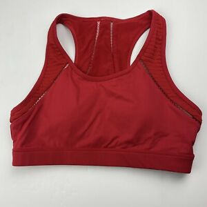 Fabletics Women's Red Sports Bra Racerback Lined Wireless Size L