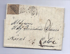Roman States Italy SC 4, 3 Baj Imperf on Cover - 1862 - With Letter*