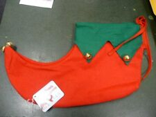Adult Sized Elf Shoes Red & Green with Jingle Bells One size Christmas Fun