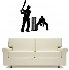 Cricket Wicket Keeper and Batsman Sport Wall Art Sticker Free Postage