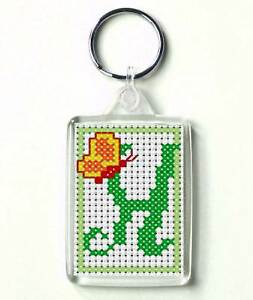 Counted cross stitch Keyring kit, Alphabet Butterfly H-acryclic keyring included