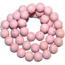 """GR1346f Pink 10mm Round Riverstone Coral Fossil Gemstone Beads 16"""""""
