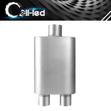 """3"""" Inlet 2.5"""" Outlet Center to Dual 3 Chamber Performance Race Muffler 19"""" Long"""