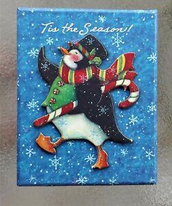 Christmas Susan Winget Topcoat & Hat Penguin Candy Cane Gift/Storage Lidded Box