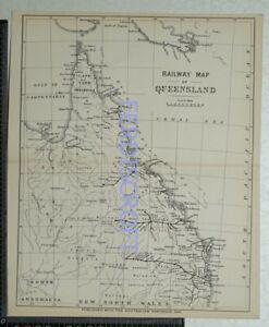1891 Railway Map of Queensland, Australia