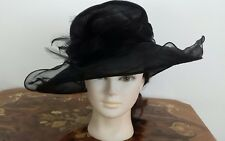 BHS Packable Organza Hat Black Size M-L Feather detail