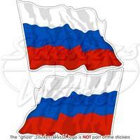 RUSSISCHE FÖDERATION Wehende Flagge RUSSLAND Fahne 120mm Aufkleber x2 Stickers