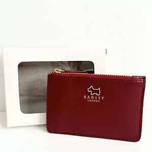 RADLEY Haywood Claret Leather Coin Purse Card Holder on Gift Box - BNWT