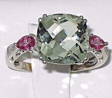 10k w.gold Estate ring 10x10mm, 4.60ct green Garnet,Ruby,Diamond,t.w 3.00g, 6.25