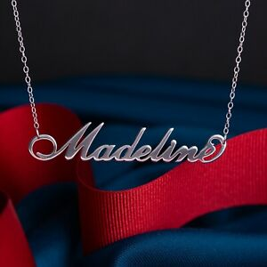 Personalised 925 Sterling Silver Name Plate Necklace Pendant 16'' IN Chain Gift