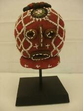 Antique African Beaded Trophy Head from the Bamileke of Cameroon Cloth + Stand
