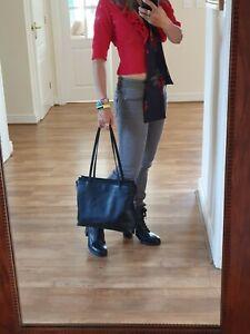 Tula By Radley Large Black Leather Hobo Shoulder Satchel Bag Handbag Vgc