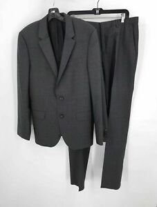 Boss Hugo Boss Charcoal Wool Blend Men's Long Sleeve Button 2 Pc Suit Size 40R