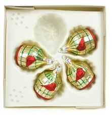 Gold Red Bird Cage Vintage Handblown Eastern Europe Glass Christmas Ornament Set