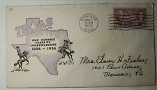 Nouvelle annonce US FDC Sc# IOOR Gonzales TX 1936 Texas Lonestar State Cowboys & Horses