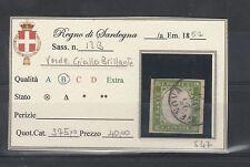 FRANCOBOLLI 1859 SARDEGNA 5 C. VERDE GIALLO BRILLANTE A/6082