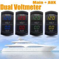 Red LED Digital Dual Voltmeter Voltage Gauge Battery Monitor Panel Car Boat RV
