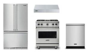 "Viking Pro Package 36"" Refrigerator, 30"" Range, Hood, and Dishwasher"