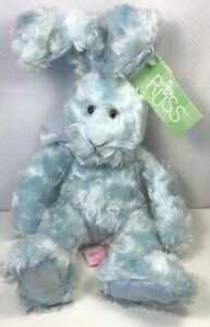 Russ Cranberry Patch Iris Bunny Rabbit Blue Long Eared Stuffed Animal Plush New