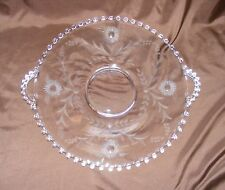 "Candlewick Clear Imperial Glass Etched Flowers w/ Ball Edge - Large 16"" Platter"