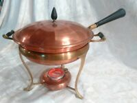 Antique Vtg Copper Brass Chafing Dish Double Boiler w/Wood Handles ~ 5 Pieces