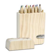 Astuccio in legno con 12 pastelli scatola portapastelli con temperamatite colori