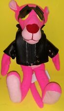 "Vintage Pink Panther Doll Stuffed Plush Toy Ace 12"" 1994 Motorcycle Biker -Nice-"