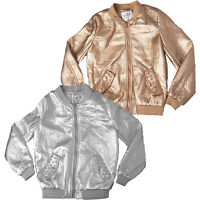Kids NEW Girls Boys Padded Bomber Plain Shiny Pilot Jacket Coat Years 3-12