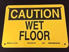 New Yellow With Black Brady 25612 Caution Wet Floor 7 X 10 Plastic Sign