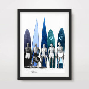 VINTAGE SURF BOARDS SURFING SURFER ART PRINT Poster Waves A4A3A2 Wall Photograph