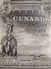 "Cunard Line Steamship Company List of Saloon Passengers R.M.S. ""Etruria"", 1890"
