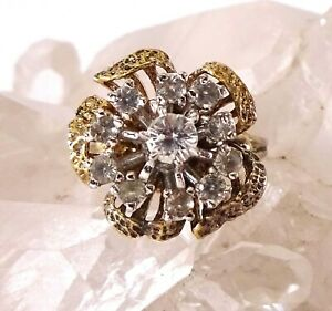 Vintage Panetta Sterling Silver Vermeil Flower Cocktail Ring w/CZ Size 5