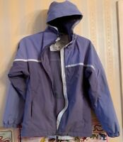 COLUMBIA FULL ZIP BLUE HOODED PACKABLE NYLON RAIN JACKET WOMENS Small 2Tone BLUE