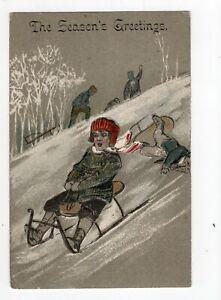Antique embossed Christmas postcard, sledging, snow, children