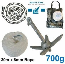 ANCHOR KIT Kayak Fishing - 700g Collapsible Anchor, 30m Rope, Chain, D Shackles