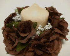 """2 CHOCOLATE Candle Rings Roses Center Pieces Artificial Silk Flowers 3"""" 4005CHO"""