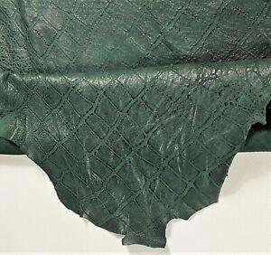 Dark Green Crocodile Soft Leather Lamb Hide Accessory Craft Apparel Avg 6 SqFt
