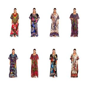 Full Length Maxi Kaftan Kimon Full Length Kimono Dress in Floral Print