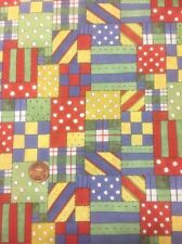Noahs Ark Mock Patchwork 44657 100% Cotton fabric Quilting Craft Dress Red Blue