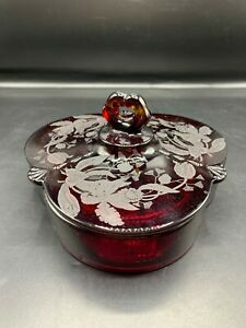 RARE RUBY RED GLASS PADEN CITY ORCHID ETCHED LIDDED 3 PT CANDY