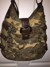 B Makowsky Camouflage Camo Leather Buckles Shoulder Bag Green Brown MSRP $275