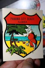 Vintage FL Panama City Beach oranges palms transfer Auto suitcase decal 1960's