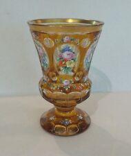ANTIQUE BOHEMIAN CZECH CASED OVERLAY 2 -LAYER GLASS ENAMELED BEAKER / TUMBLER