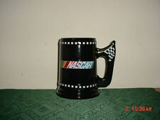 "NASCAR LRG 6 1/4"" BLACK BEER STEIN-TANKARD/2003/BLK-CHECKERED FLAG/FREE SHIP!"