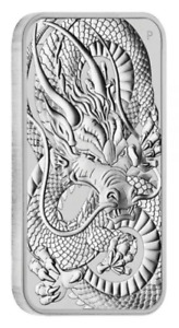 2021 Australia 1 oz Silver Dragon Rectangular Bar - Perth Mint -.9999