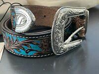 MyraBag Hand Tooled Brown Turquoise Leather Belt Small Medium Large Boho Western